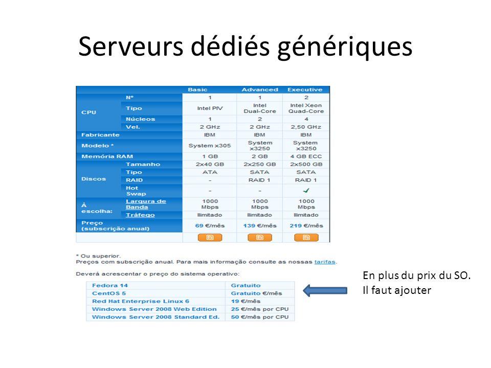 Serveurs dédiés génériques
