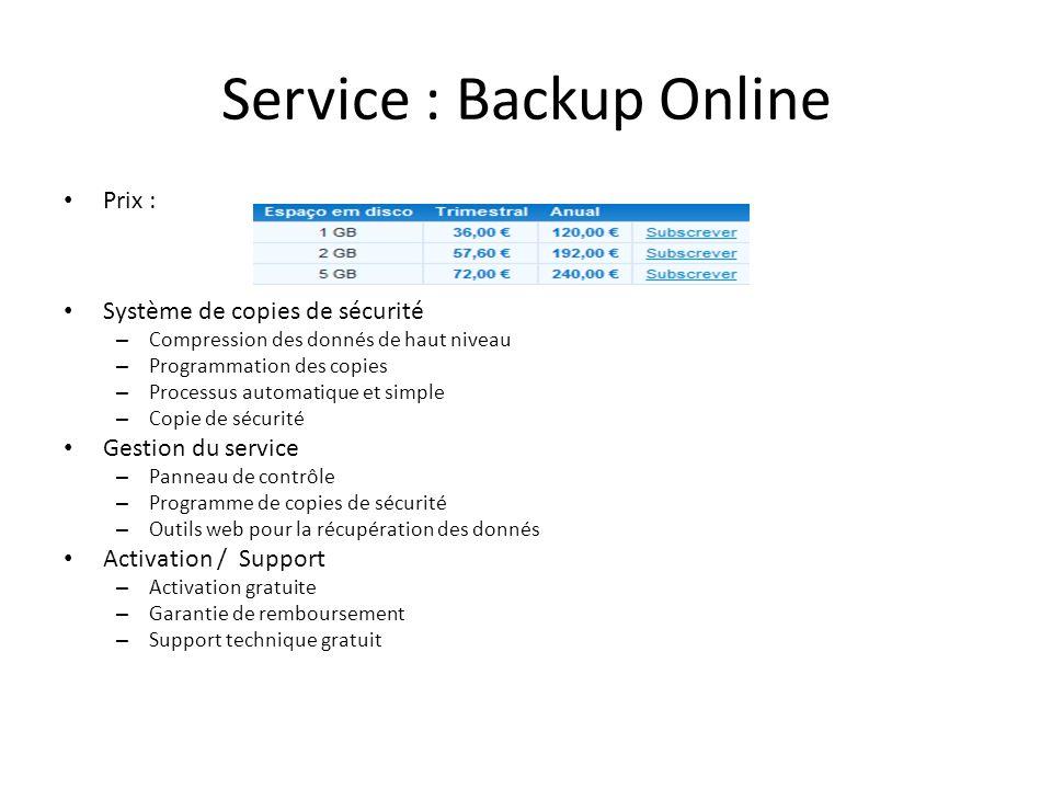 Service : Backup Online