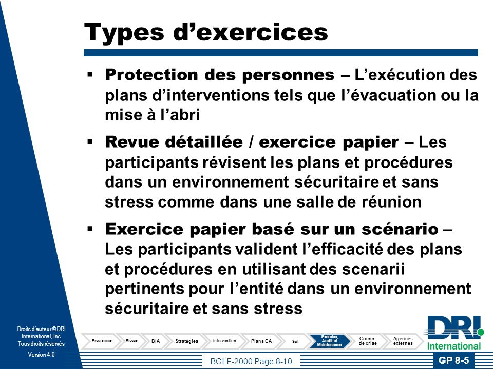 Types d'exercices
