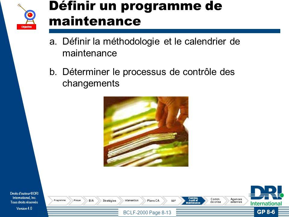 Définir la méthodologie et le calendrier de maintenance