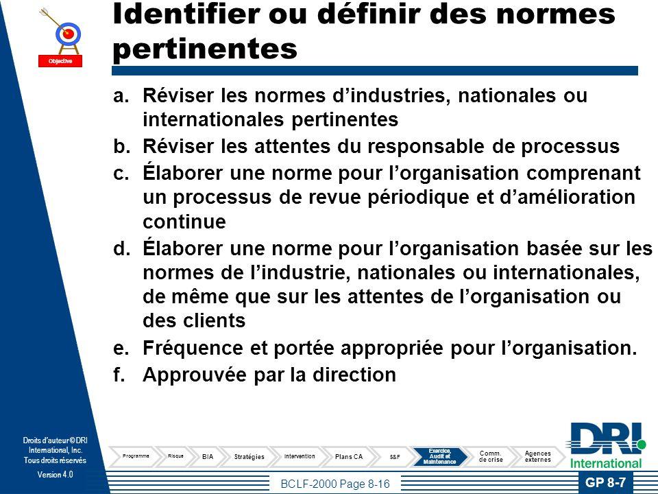 Définir un processus d'audit du programme de continuité d'activités
