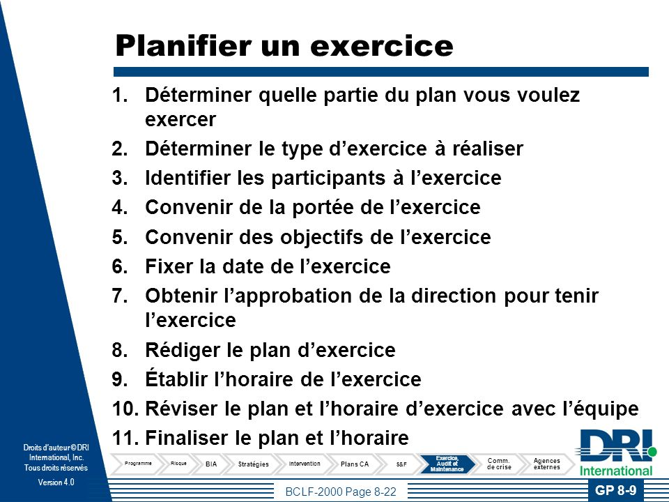 Exemple d'horaire d'exercice