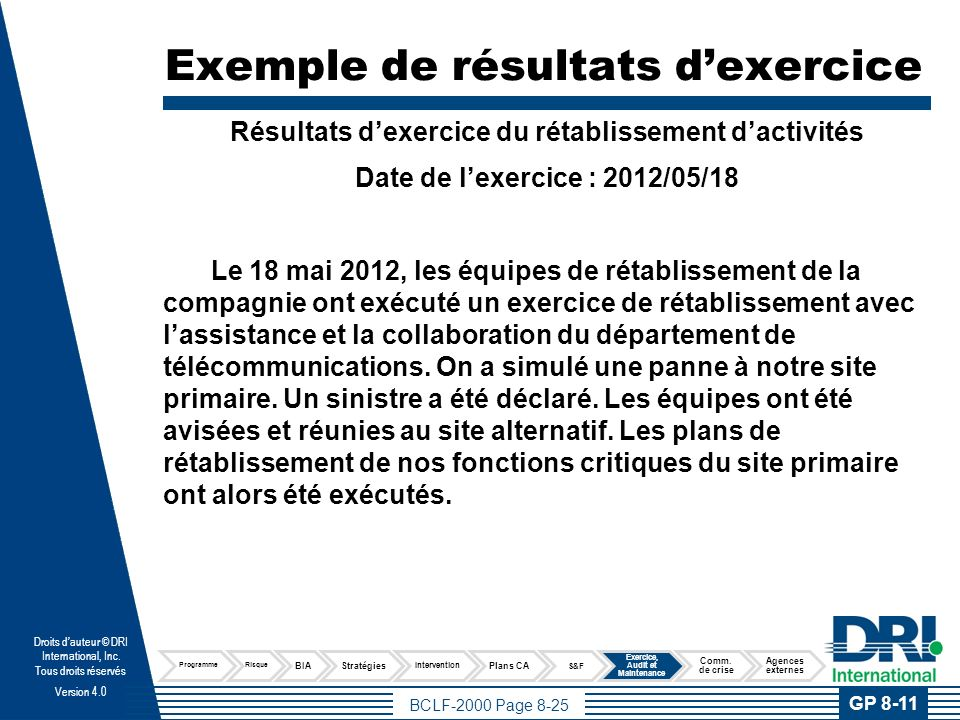 Exemple de résultats d'exercices (suite)