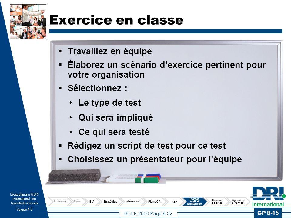 Test de connaissance Pratique professionnelle 8 Exercice, audit et maintenance du plan de continuité d'activités