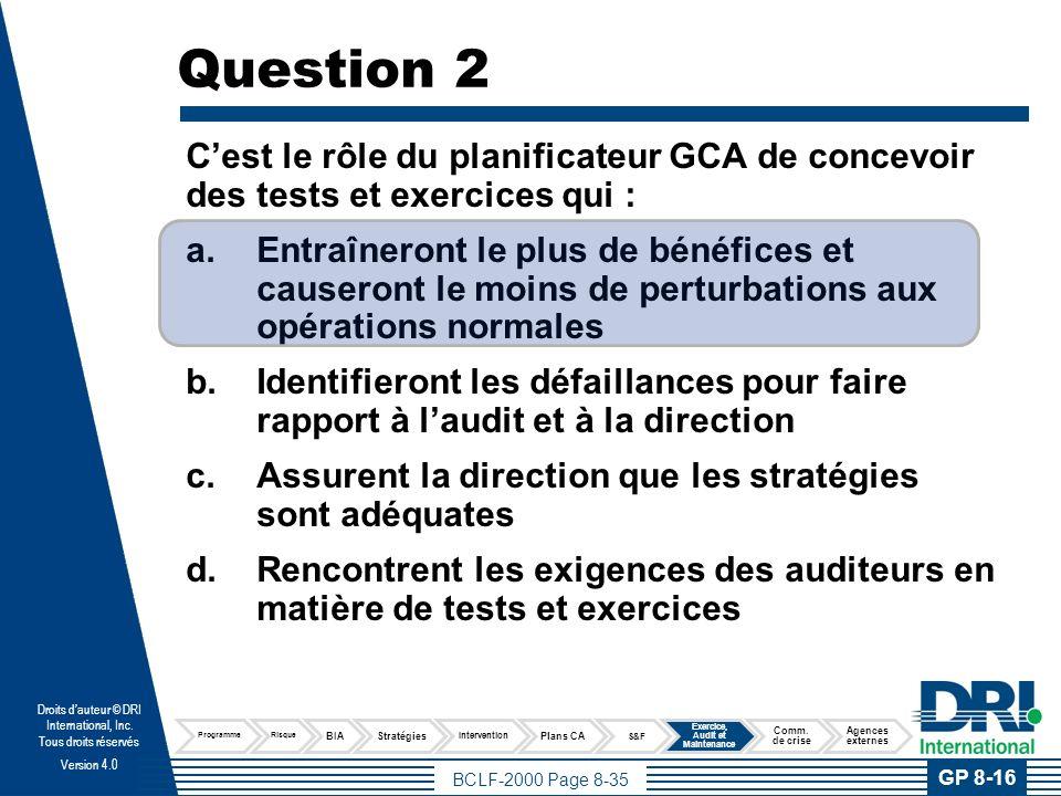 Question 3 Quel est l'objectif principal d'un exercice du plan