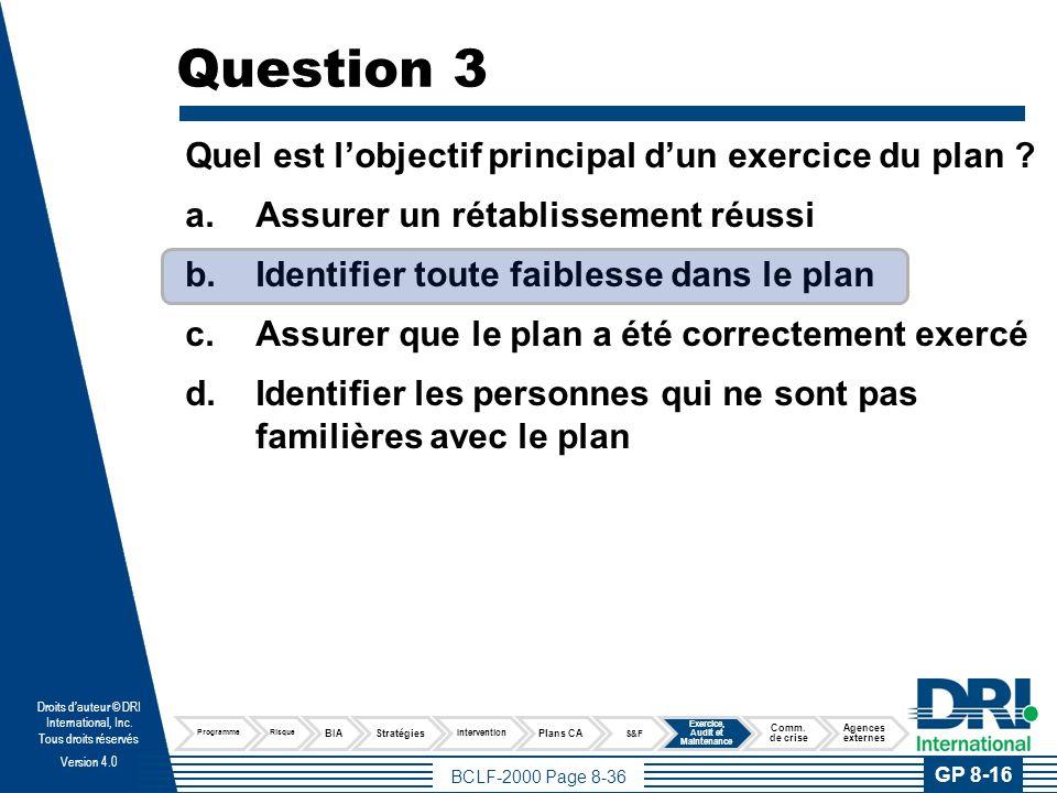 Question 4 Les audits du programme et revues de plan sont :