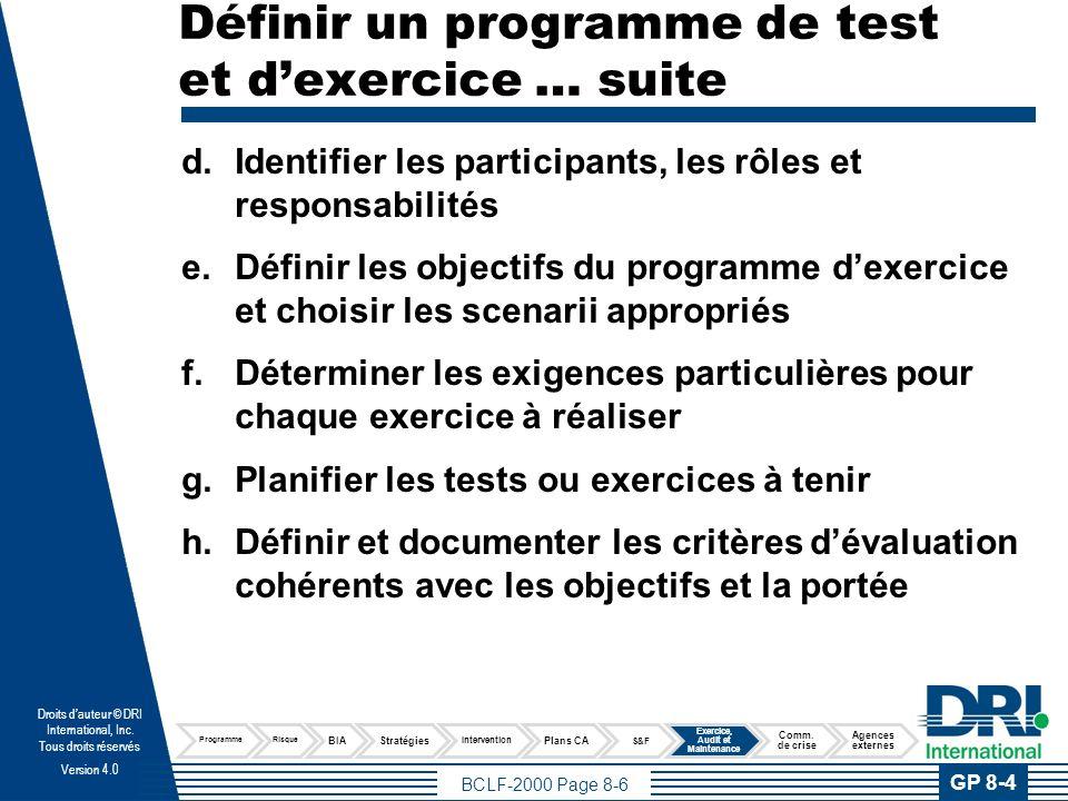 Définir un programme de test et d'exercice … suite