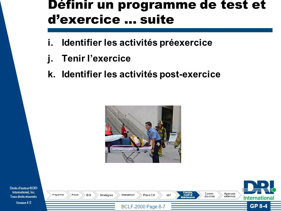 Planifier les exercices