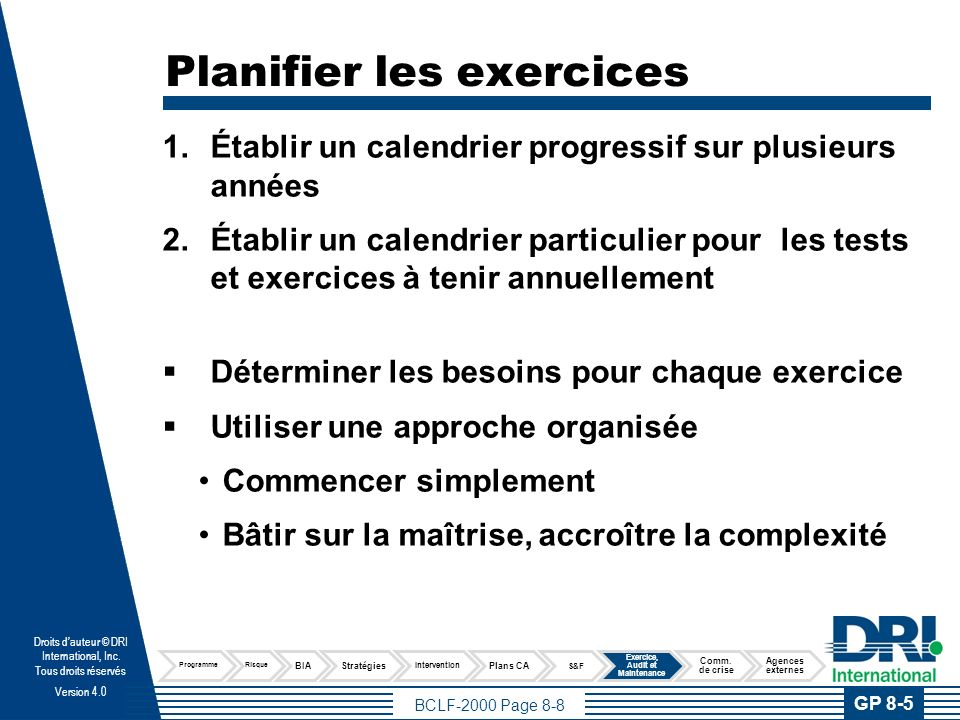 Exercer le Plan Types d'exercices