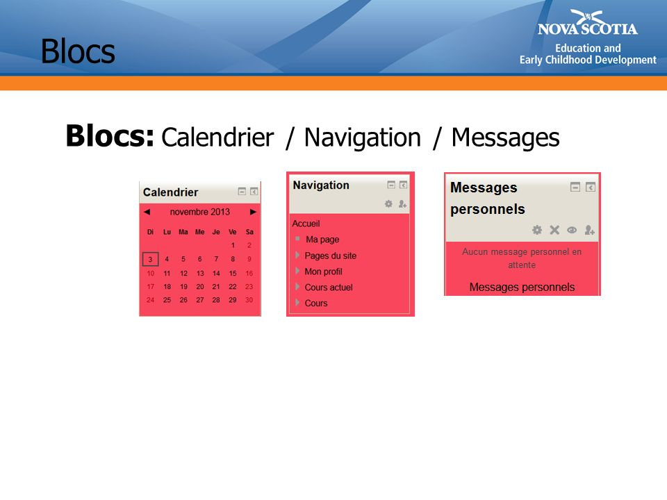 Blocs Blocs: Calendrier / Navigation / Messages