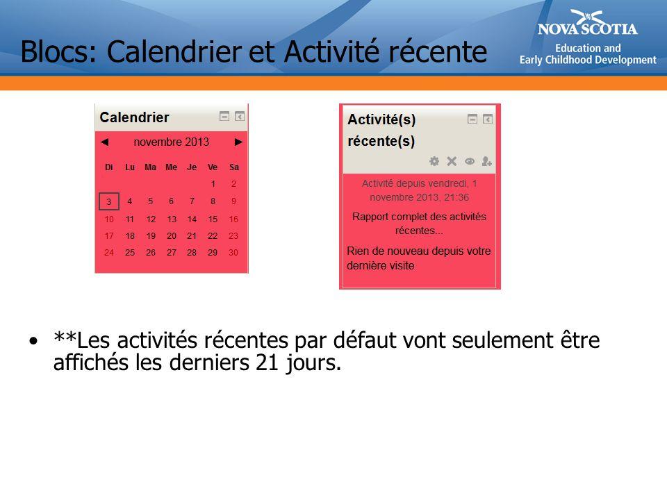 Blocs: Calendrier et Activité récente