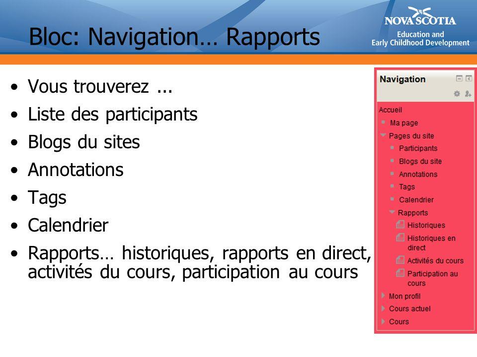 Bloc: Navigation… Rapports