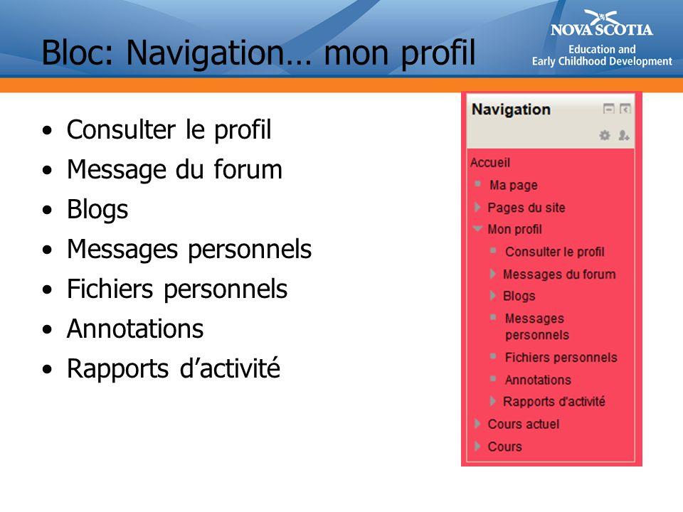 Bloc: Navigation… mon profil