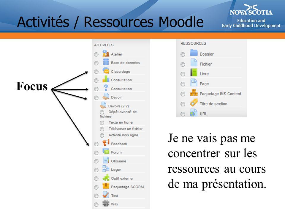 Activités / Ressources Moodle