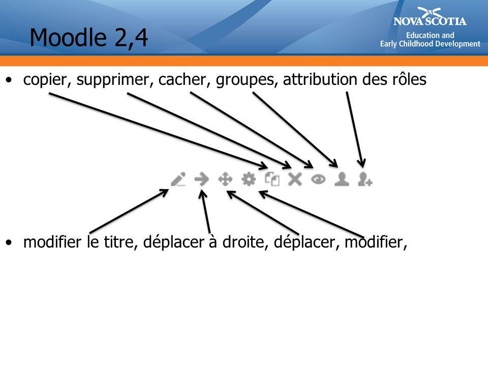 Moodle 2,4 copier, supprimer, cacher, groupes, attribution des rôles