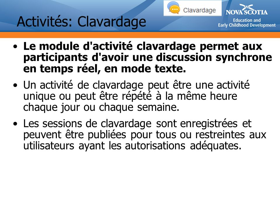 Activités: Clavardage