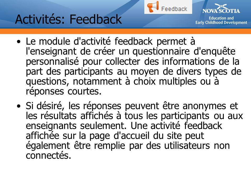 Activités: Feedback