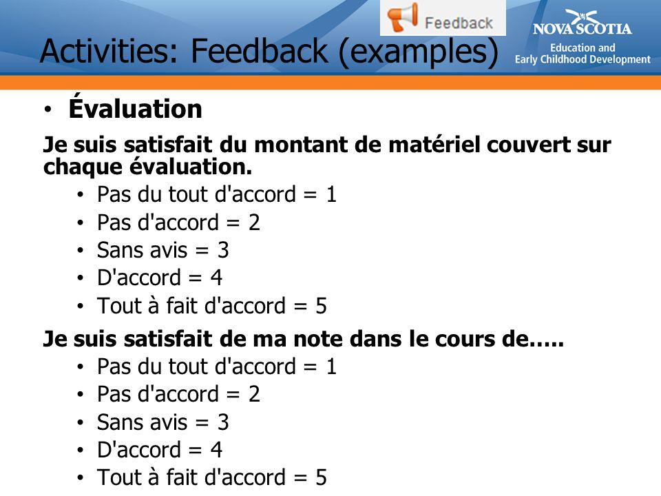 Activities: Feedback (examples)