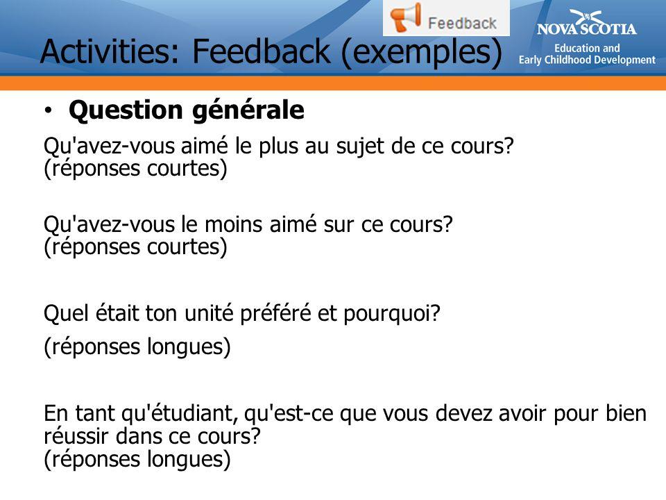 Activities: Feedback (exemples)