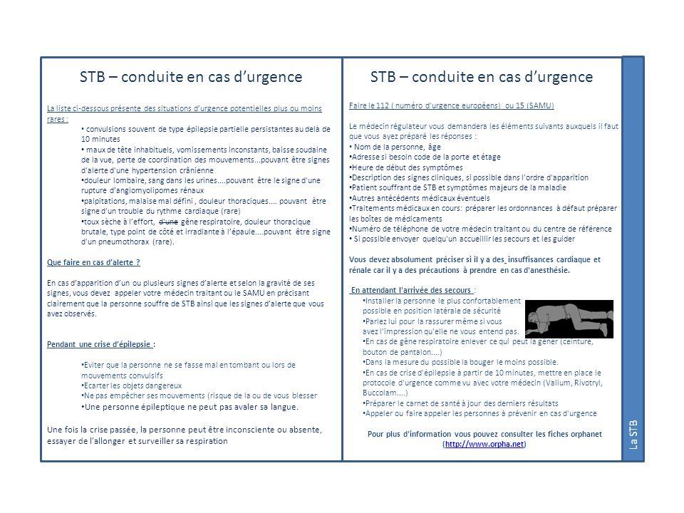 STB – conduite en cas d'urgence STB – conduite en cas d'urgence