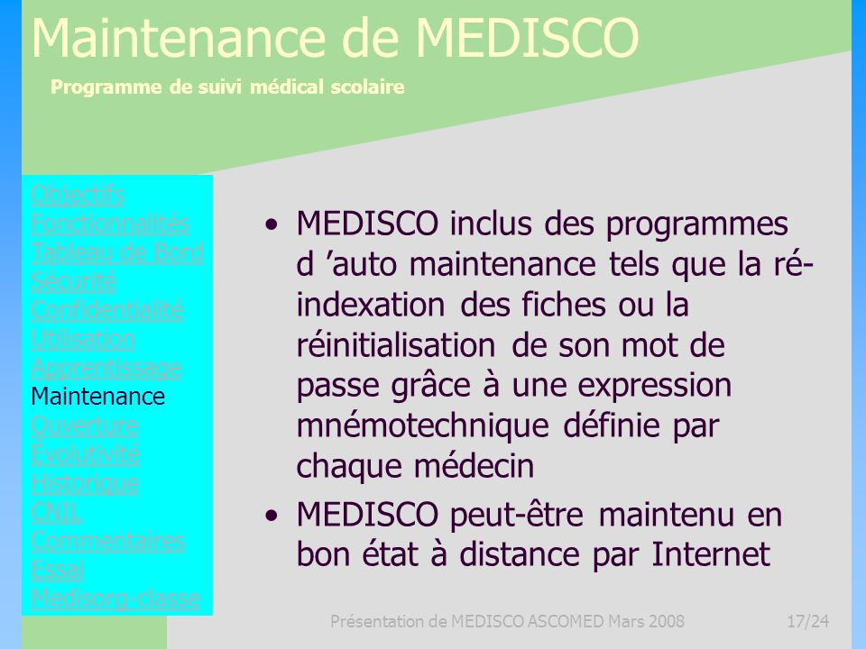 Maintenance de MEDISCO