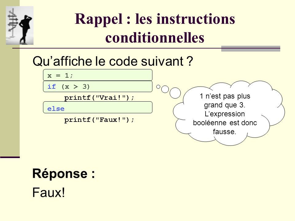 Rappel : les instructions conditionnelles