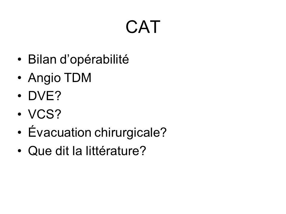 CAT Bilan d'opérabilité Angio TDM DVE VCS Évacuation chirurgicale