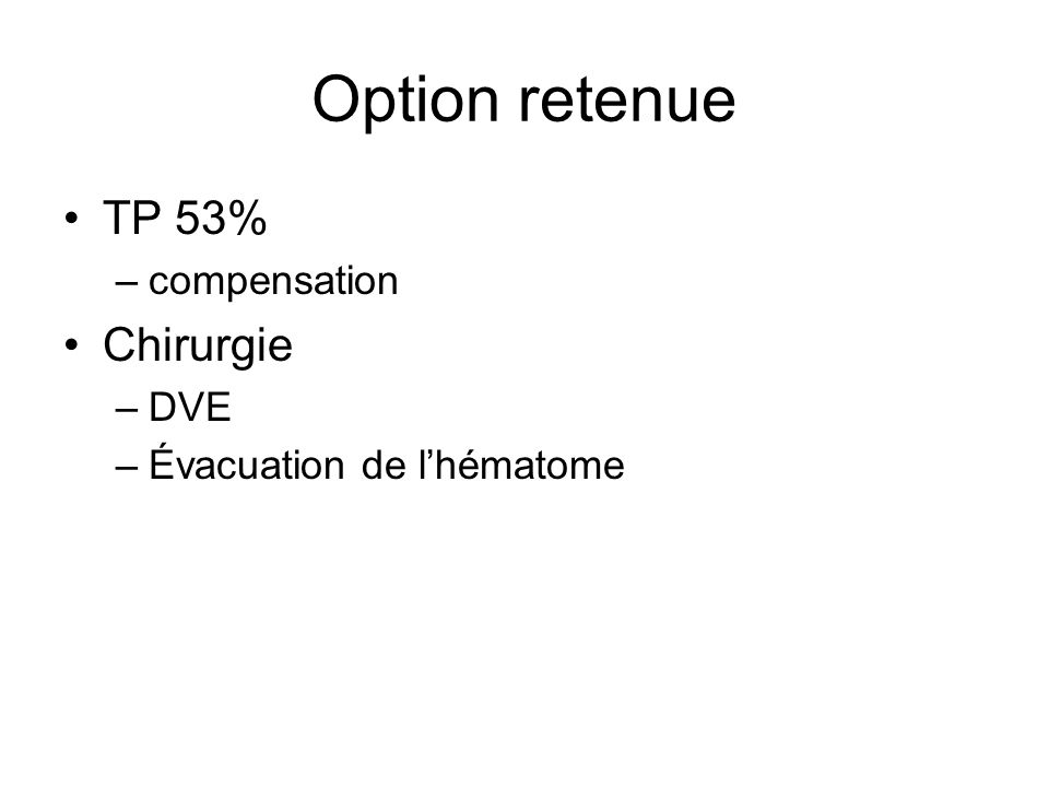 Option retenue TP 53% Chirurgie compensation DVE