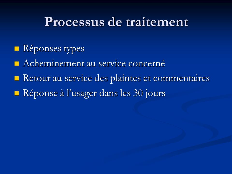 Processus de traitement
