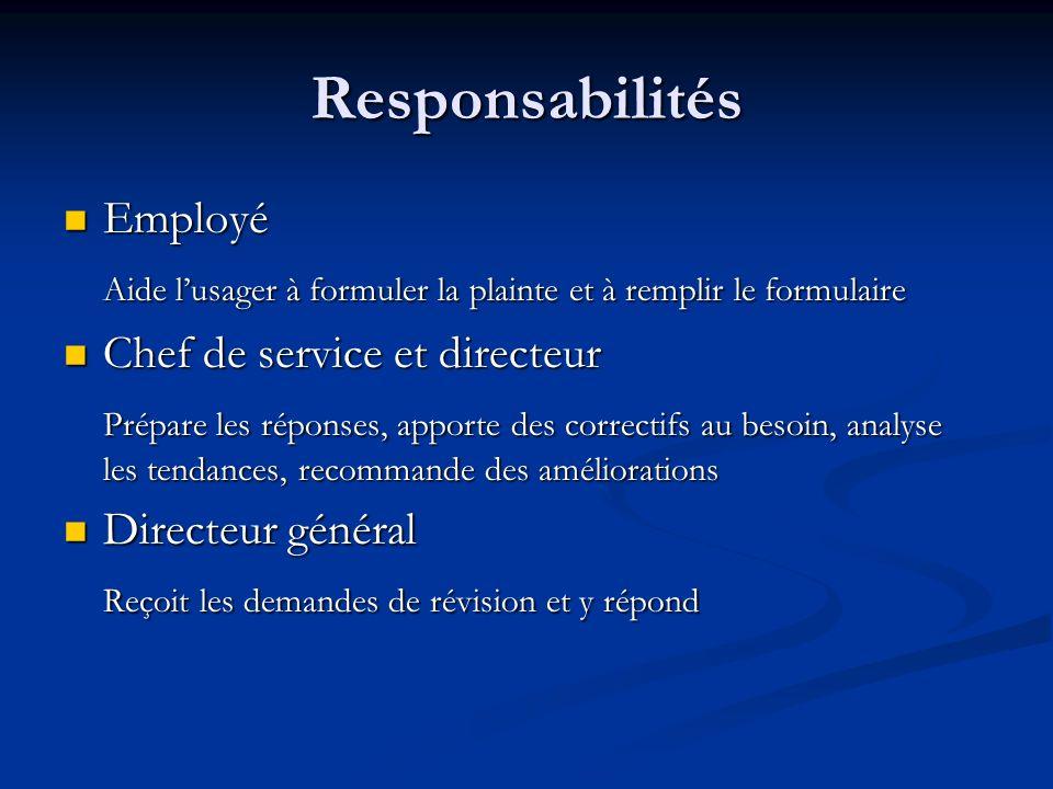 Responsabilités Employé