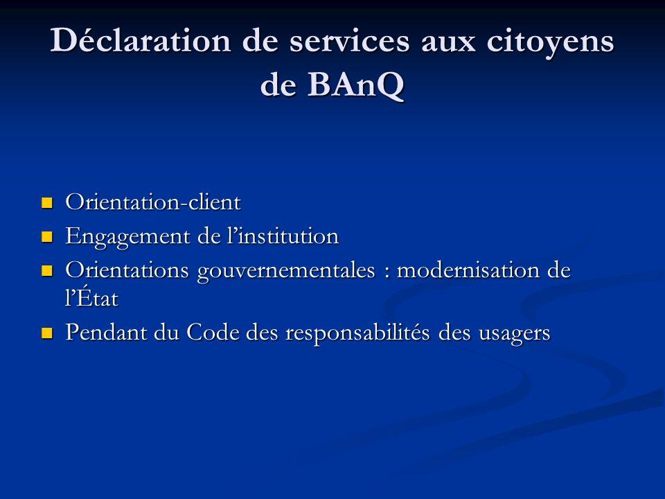 Déclaration de services aux citoyens de BAnQ
