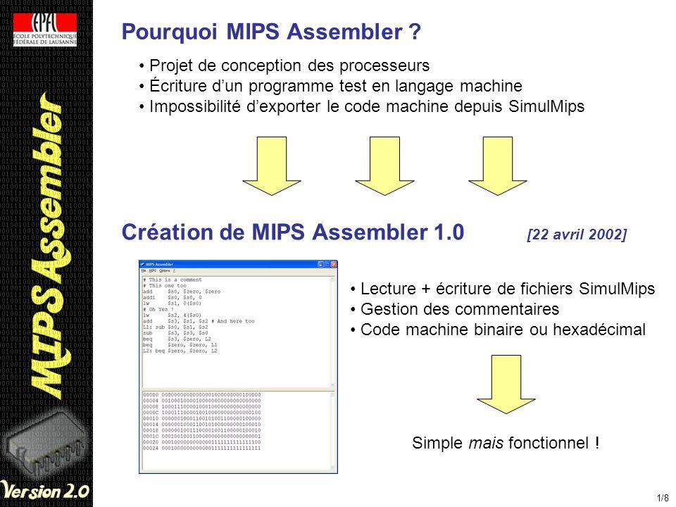 Pourquoi MIPS Assembler