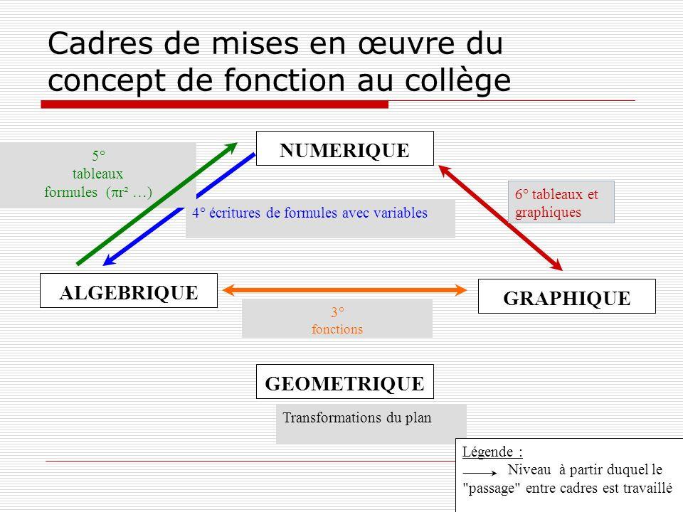 Cadres de mises en œuvre du concept de fonction au collège