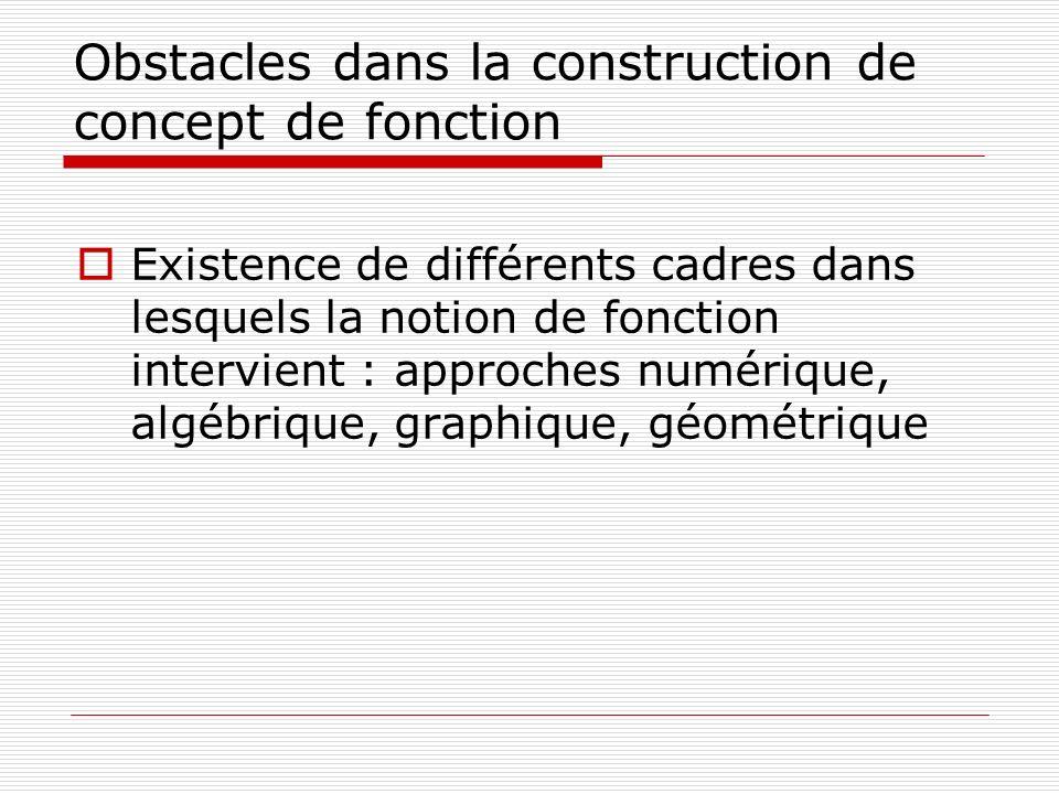 Obstacles dans la construction de concept de fonction