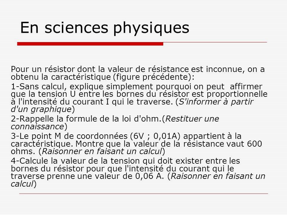 En sciences physiques Pour un résistor dont la valeur de résistance est inconnue, on a obtenu la caractéristique (figure précédente):