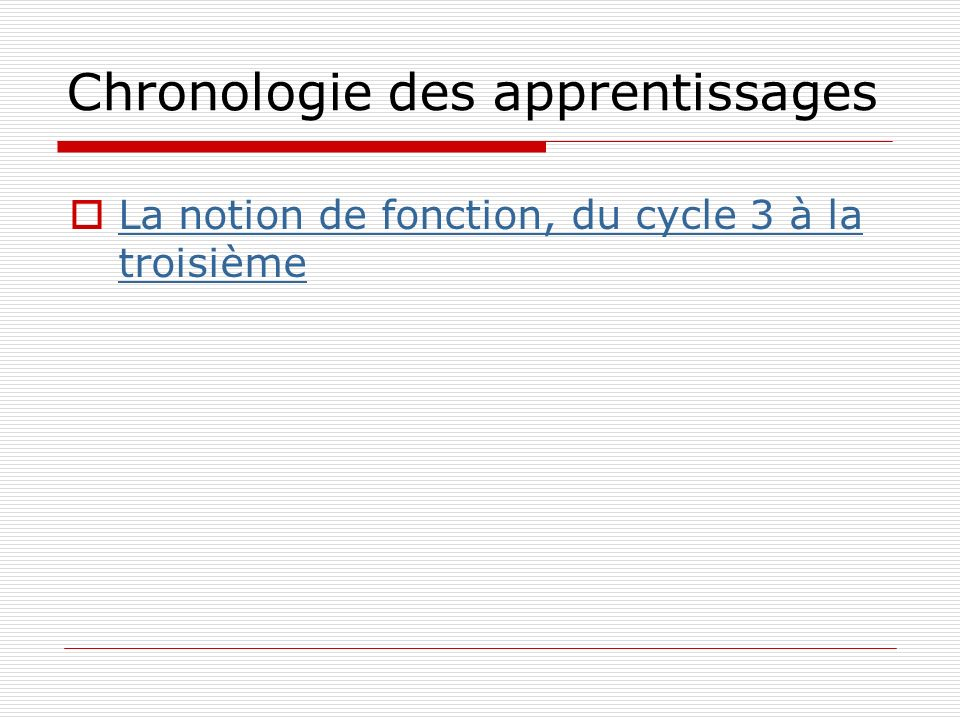 Chronologie des apprentissages