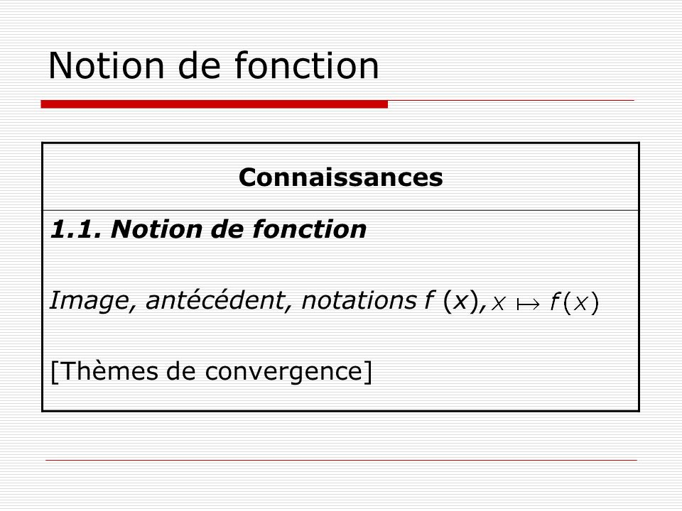 Notion de fonction Connaissances 1.1. Notion de fonction