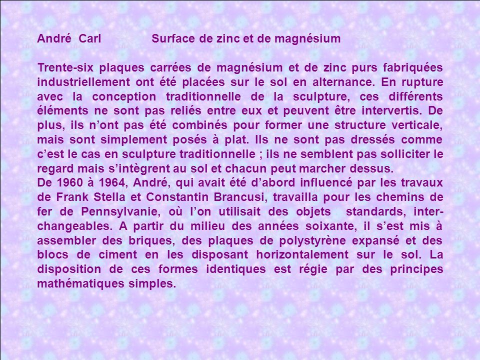 André Carl Surface de zinc et de magnésium