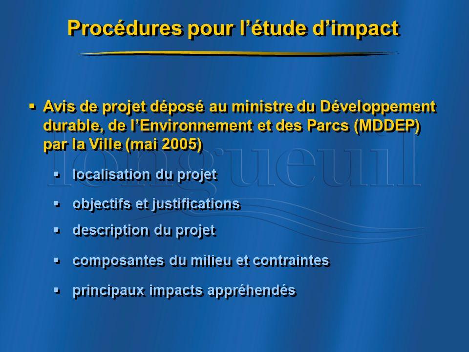 Procédures pour l'étude d'impact