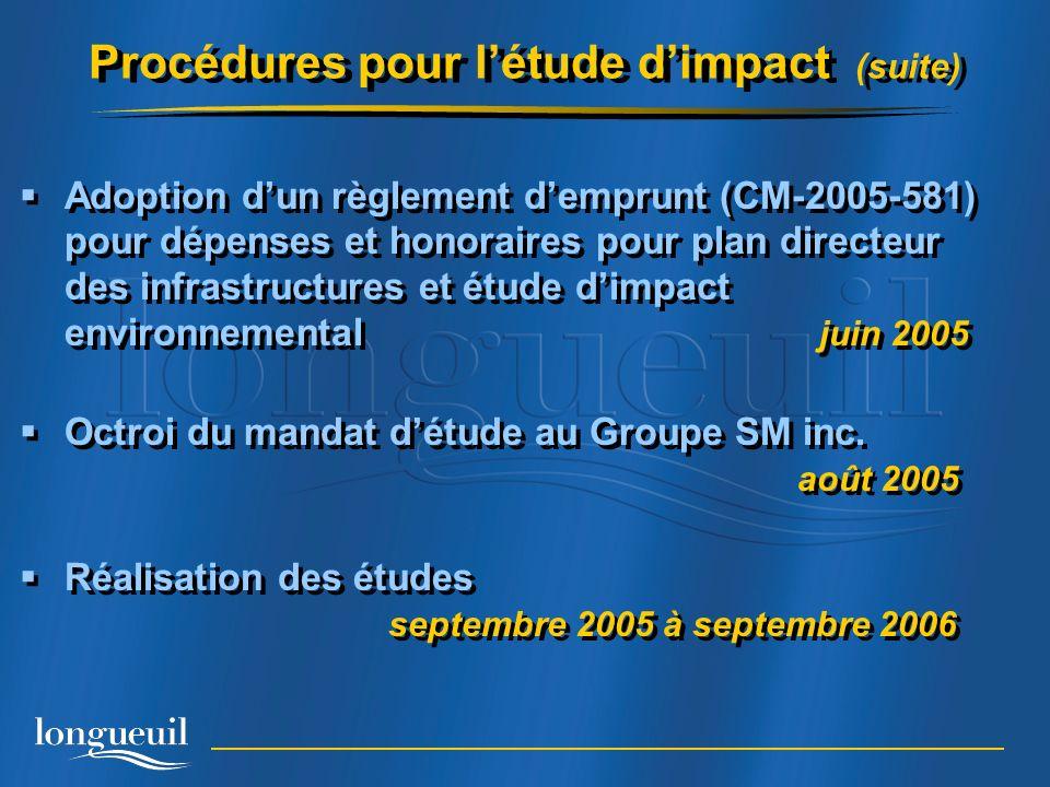 Procédures pour l'étude d'impact (suite)