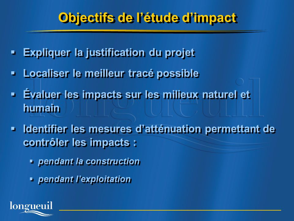 Objectifs de l'étude d'impact