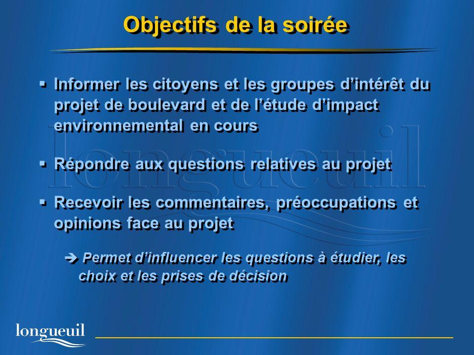Objectifs de la soirée Informer les citoyens et les groupes d'intérêt du projet de boulevard et de l'étude d'impact environnemental en cours.