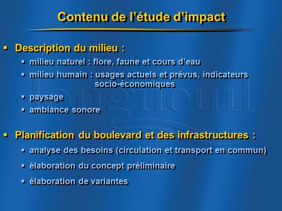 Contenu de l'étude d'impact