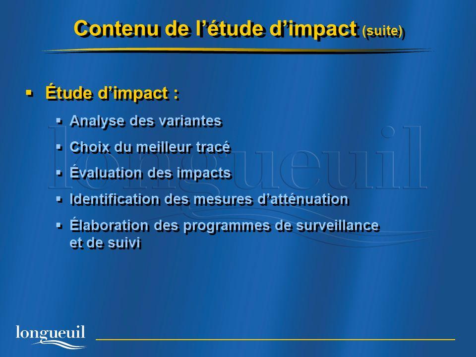Contenu de l'étude d'impact (suite)