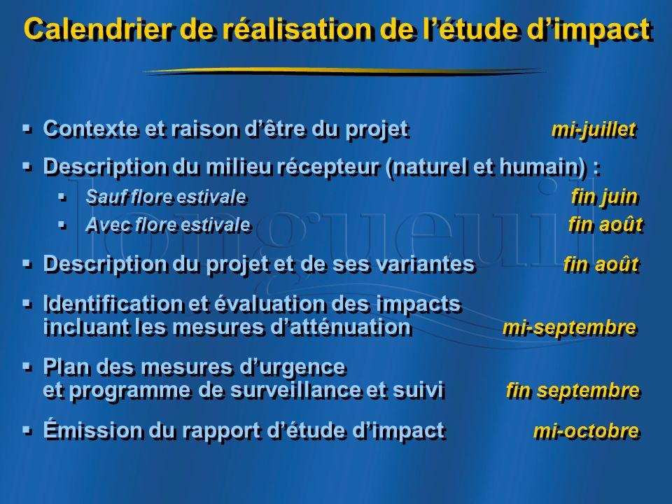 Calendrier de réalisation de l'étude d'impact