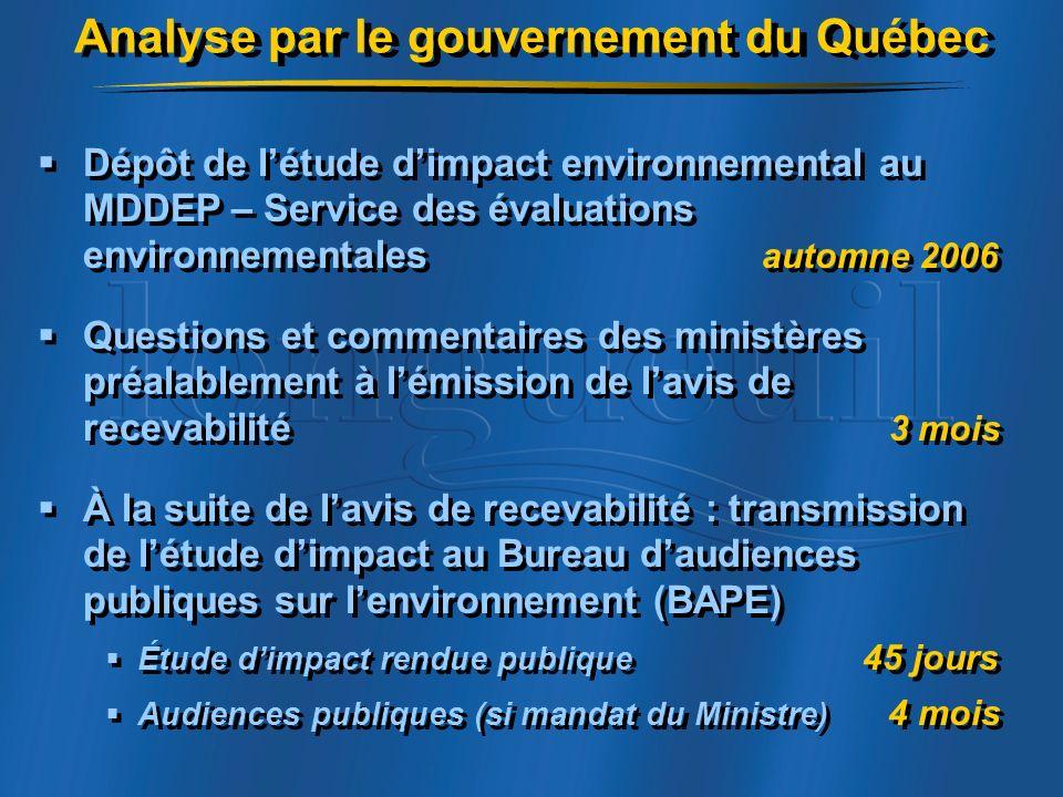 Analyse par le gouvernement du Québec