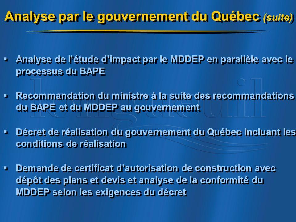 Analyse par le gouvernement du Québec (suite)