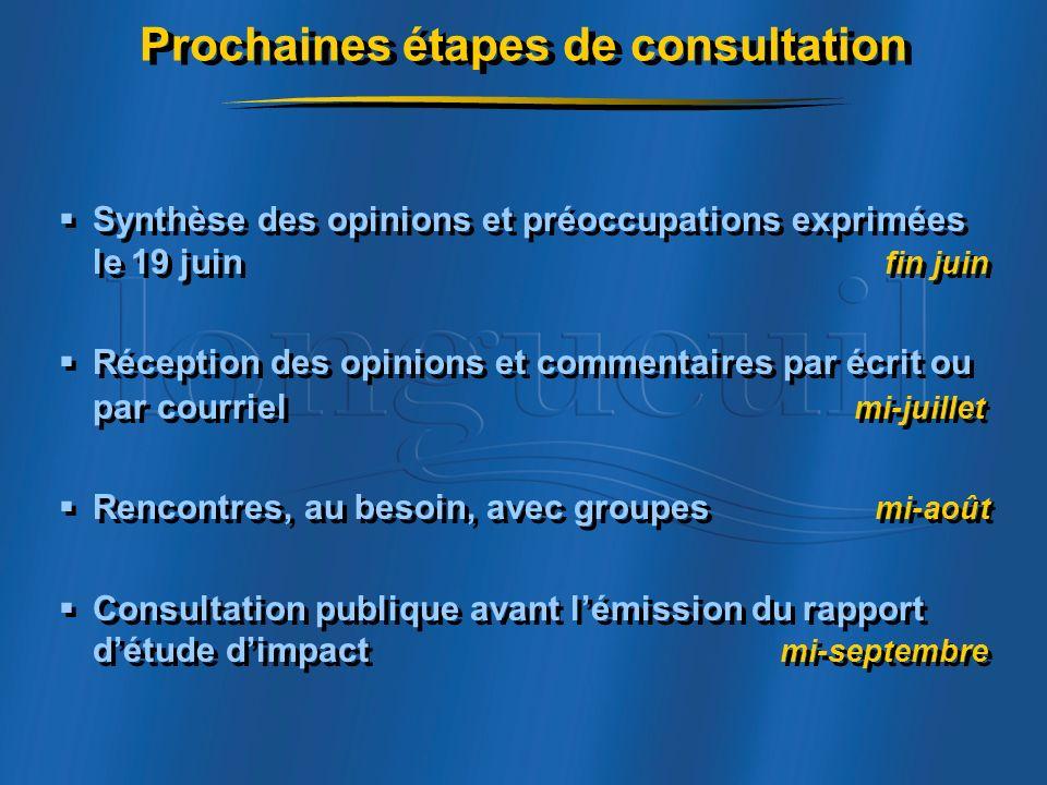 Prochaines étapes de consultation