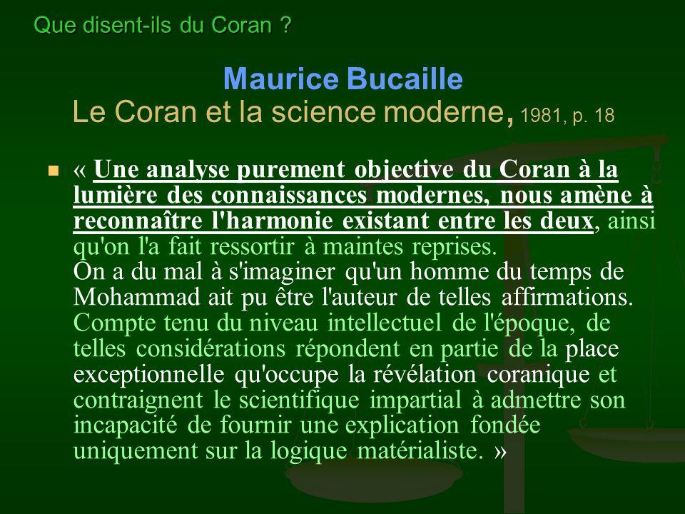 Maurice Bucaille Le Coran et la science moderne, 1981, p. 18