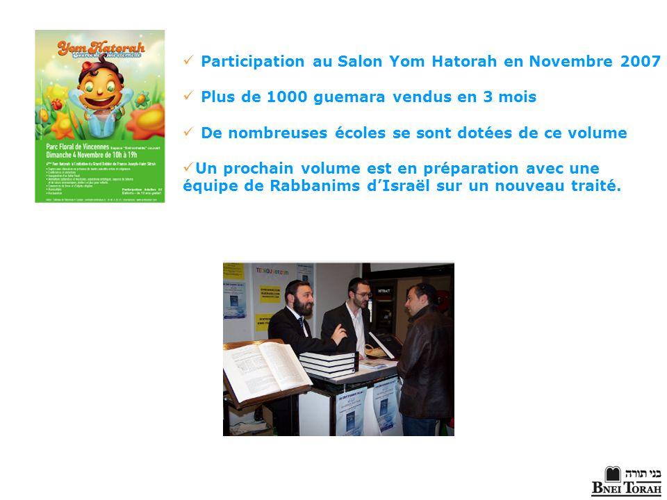 Participation au Salon Yom Hatorah en Novembre 2007